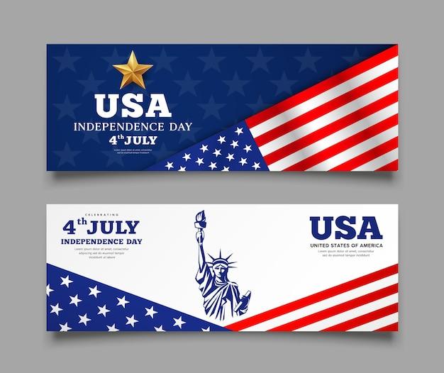 Bandeira de celebração de banners do dia da independência da américa, com fundo de coleções de design da estátua da liberdade, ilustração Vetor Premium