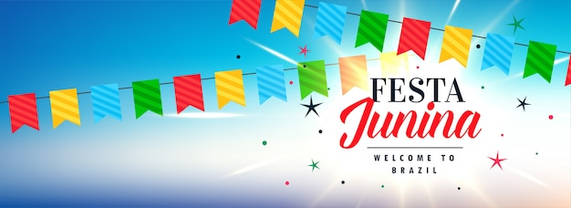 Bandeira de celebração junina festa latino-americana Vetor grátis