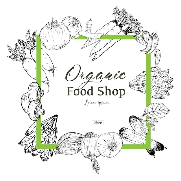 Bandeira de comida orgânica desenhada de mão. ervas e especiarias orgânicas. desenhos de comida saudável para venda. ilustração vetorial Vetor Premium
