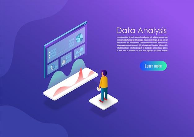 Bandeira de conceito de análise de dados isométrica. Vetor Premium