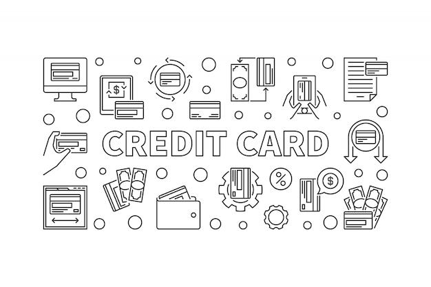 Bandeira de conceito de carro de crédito em estilo de linha fina. ilustração Vetor Premium