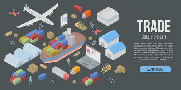 Bandeira de conceito de exportação de mercadorias de comércio, estilo isométrico Vetor Premium