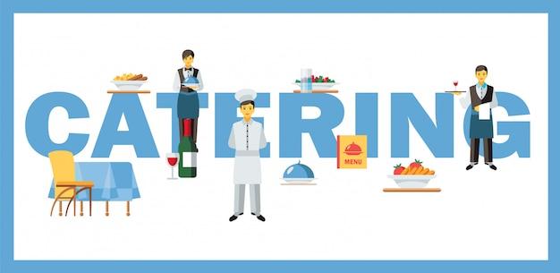 Bandeira de conceito de palavra de serviço de catering Vetor Premium