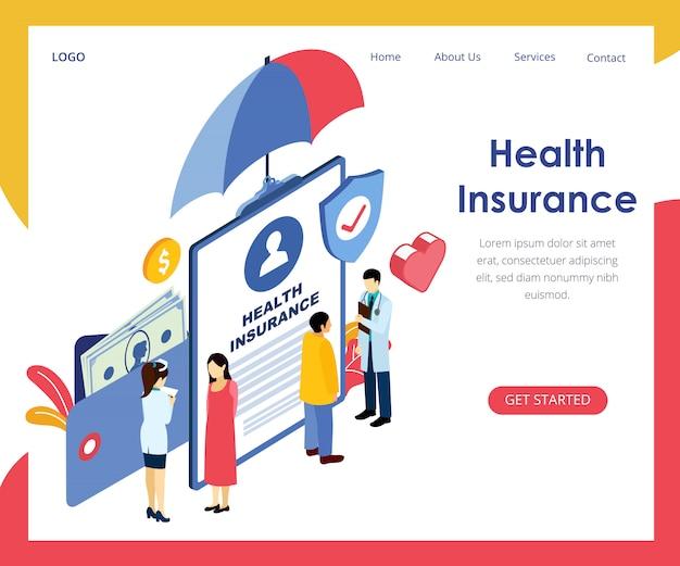Bandeira de conceito de seguro de saúde ilustração em vetor isométrica Vetor Premium