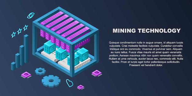 Bandeira de conceito de tecnologia de mineração, estilo isométrico Vetor Premium