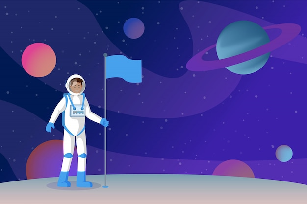 Bandeira de configuração do cosmonauta plana Vetor Premium