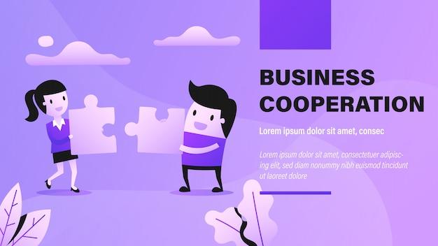 Bandeira de cooperação de negócios Vetor Premium