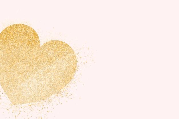 Bandeira de coração de ouro Vetor grátis