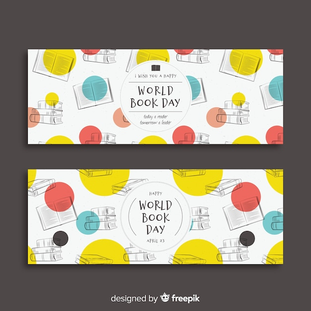 Bandeira de dia do livro mundo mão desenhada Vetor grátis