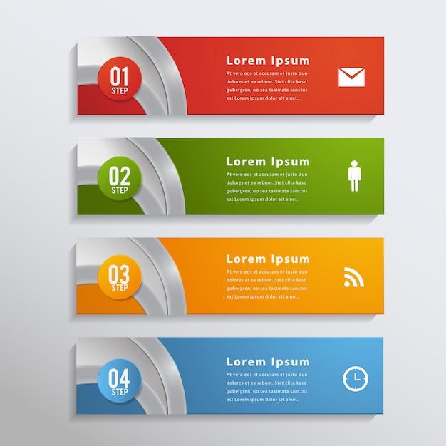 Bandeira de elemento de design moderno infográfico. Vetor Premium