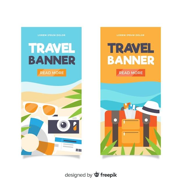 Bandeira de elementos de design plano viagens Vetor grátis