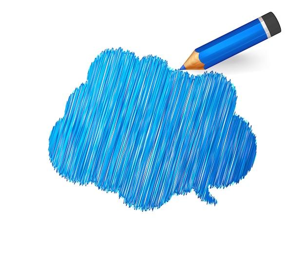 Bandeira de esboço desenhada com lápis azul dos desenhos animados Vetor Premium