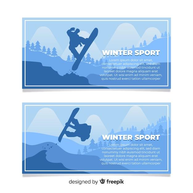 Bandeira de esporte de inverno Vetor grátis