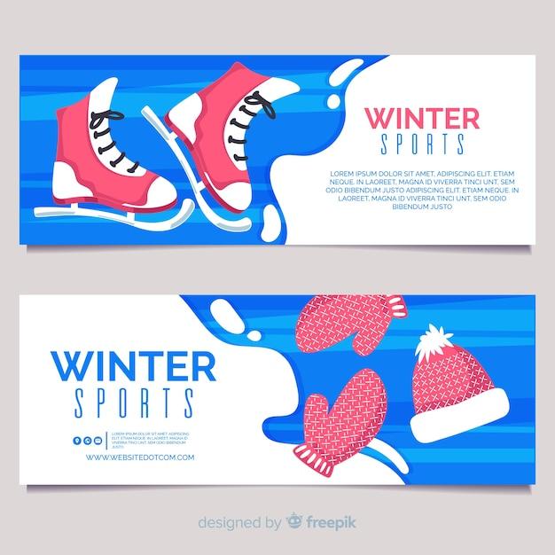 Bandeira de esportes de inverno Vetor grátis