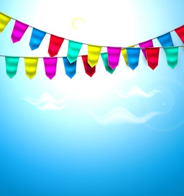 Bandeira de estamenha realista nuvem céu Vetor Premium