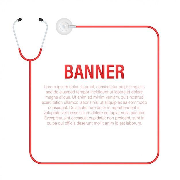 Bandeira de estetoscópios, equipamento médico para médico. ilustração em vetor das ações Vetor Premium
