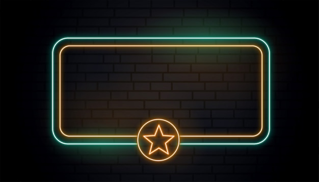 Bandeira de estrela de luz de néon em branco Vetor grátis