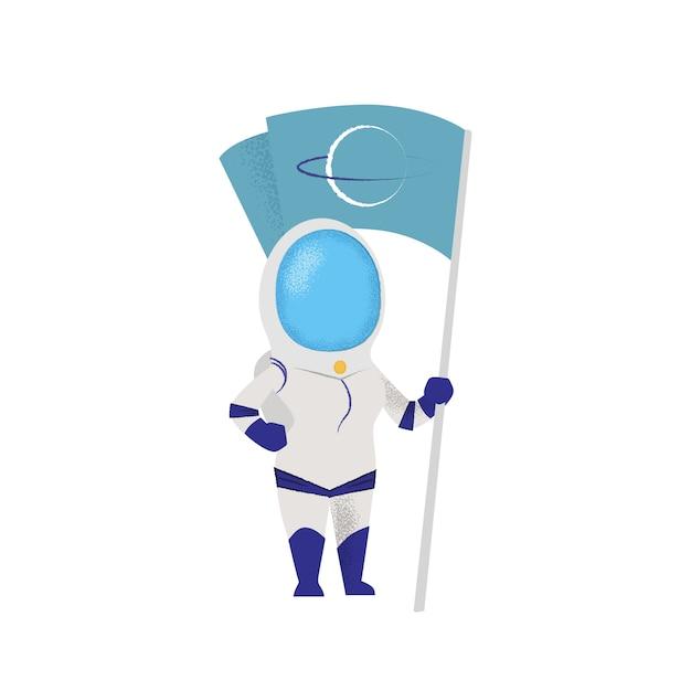 Bandeira de exploração astronauta feminina. caráter, missão, descoberta. Vetor grátis