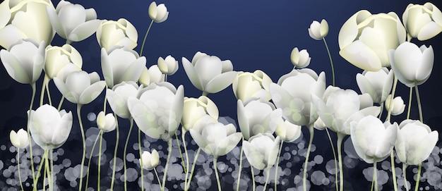 Bandeira de flores brancas Vetor Premium