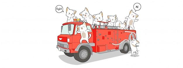 Bandeira de ilustração de gato de bombeiro Vetor Premium