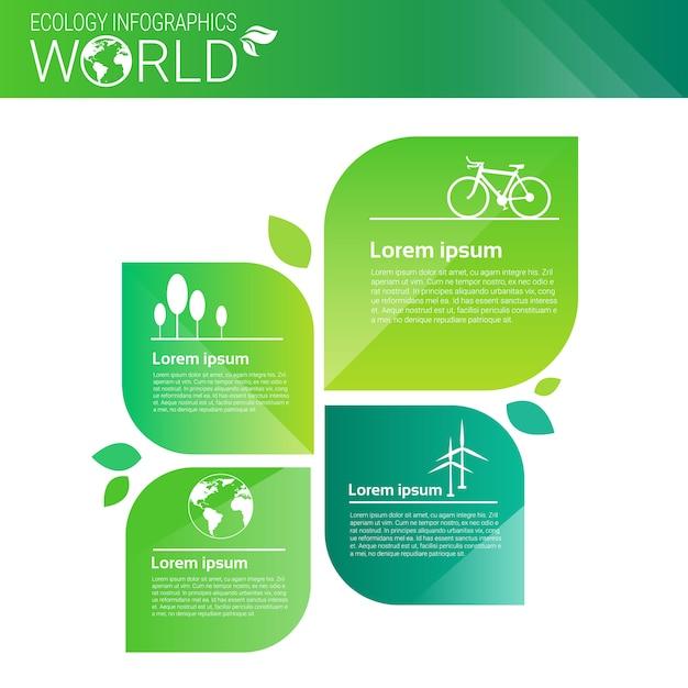 Bandeira de infográficos de ecologia de energia verde de proteção ambiental com cópia espaço Vetor Premium
