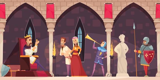 Bandeira de interior dos desenhos animados do castelo medieval com rei no trono senhor senhora cavaleiro guarda chifre soprador Vetor grátis