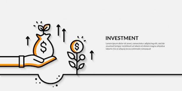 Bandeira de investimento, concpet de finanças de negócios em crescimento Vetor Premium