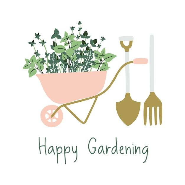 Bandeira de jardinagem desenhada de mão. Vetor Premium