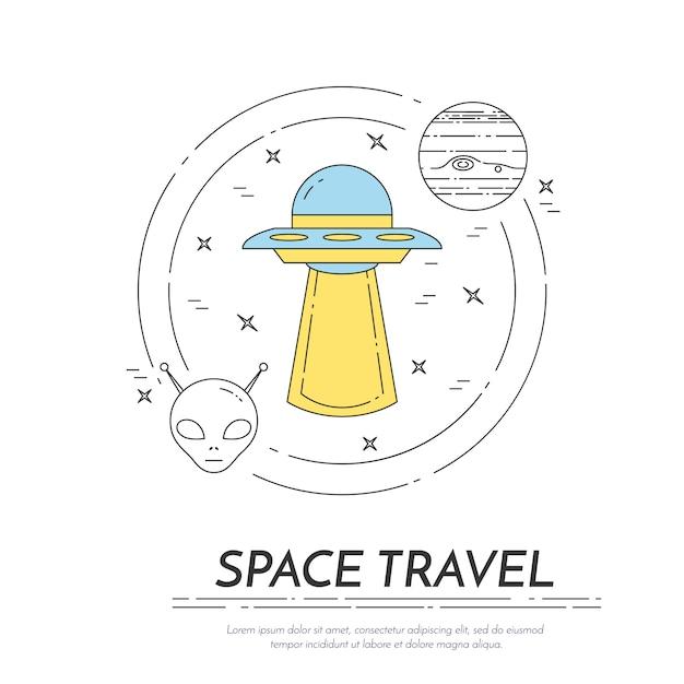 Bandeira de linha de viagens espaciais. conjunto de elementos de planetas, naves espaciais, ufo, satélite, luneta e outros pictogramas de cosmos. conceito de site, cartão, infográfico, anunciar. ilustração vetorial Vetor Premium