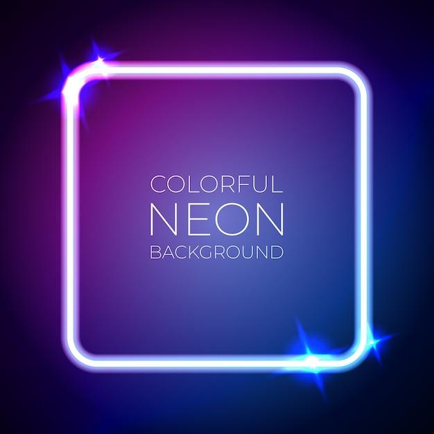 Bandeira de luz de néon colorido Vetor Premium