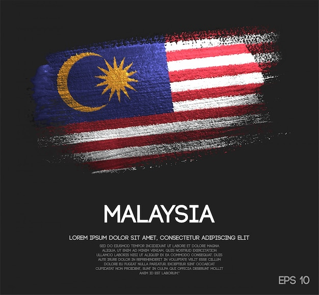 Bandeira de malaysia feita da pintura da escova da faísca do brilho Vetor Premium