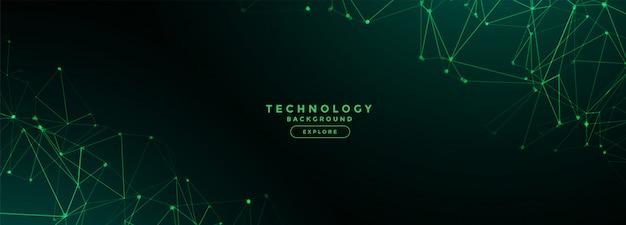 Bandeira de malha de linhas de rede de tecnologia digital Vetor grátis