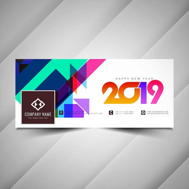 Bandeira de mídia social colorido feliz ano novo 2019 Vetor grátis