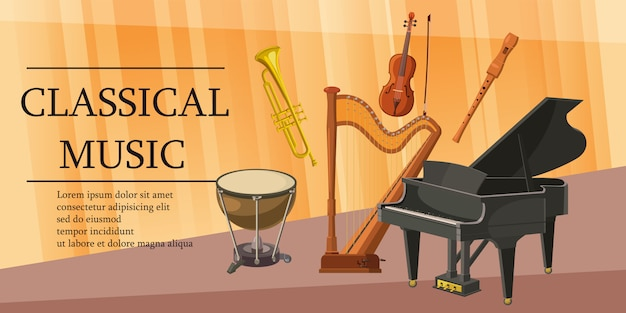 Bandeira de música clássica horizontal, estilo cartoon Vetor Premium