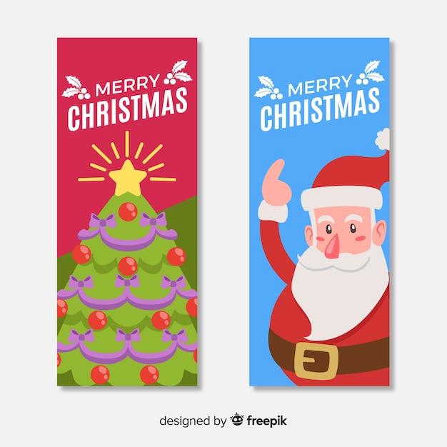 Bandeira de natal bonito conjunto com árvore e papai noel em design plano Vetor grátis