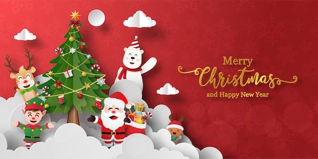 Bandeira de natal do papai noel e amigos com árvore de natal Vetor Premium