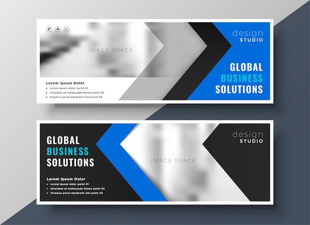 Bandeira de negócios azul profissional Vetor grátis