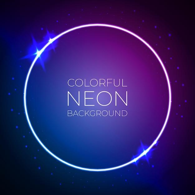 Bandeira de néon colorido círculo luz Vetor Premium