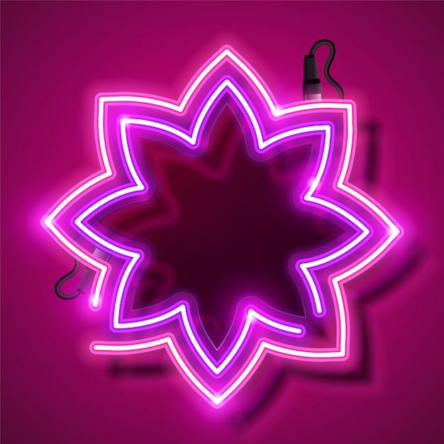 Bandeira de néon de flor. Vetor Premium