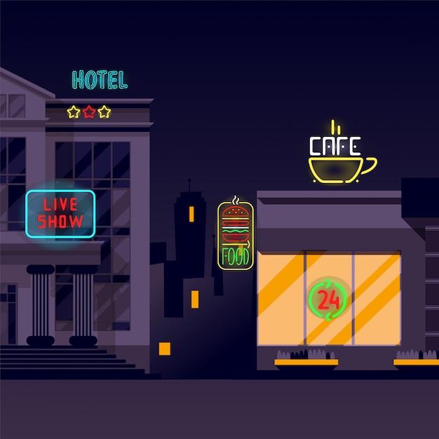 Bandeira de néon, sinais luminosos, iluminação na ilustração da cidade à noite. hotel de três estrelas, show ao vivo, café 24 horas e hambúrguer Vetor Premium