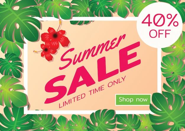 Bandeira de oferta de venda de verão Vetor Premium