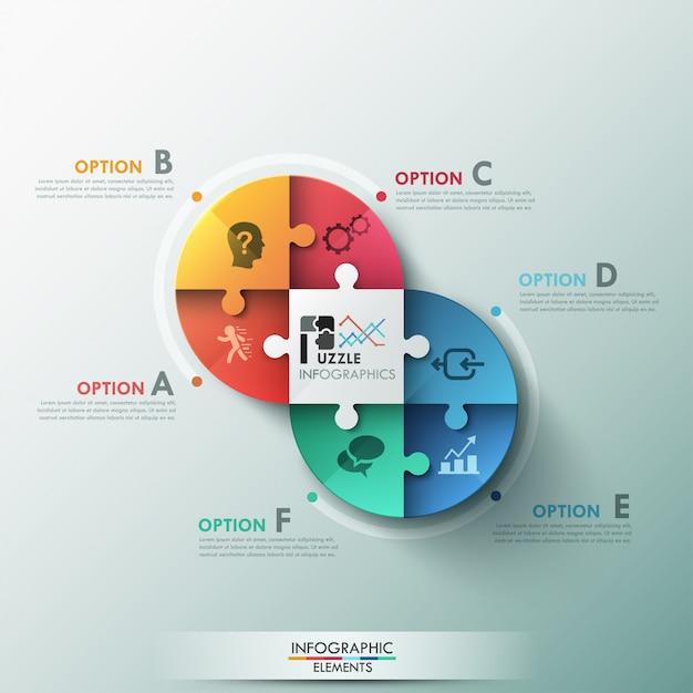 Bandeira de opções infográfico moderno quebra-cabeça Vetor Premium