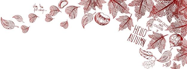Bandeira de outono doodles Vetor Premium