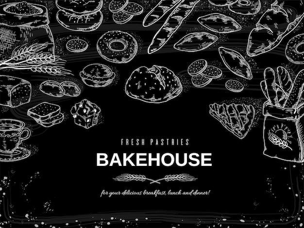 Bandeira de pão e bolos do quadro-negro, modelo de design de biscoitos e tortas de mão desenhada. Vetor Premium