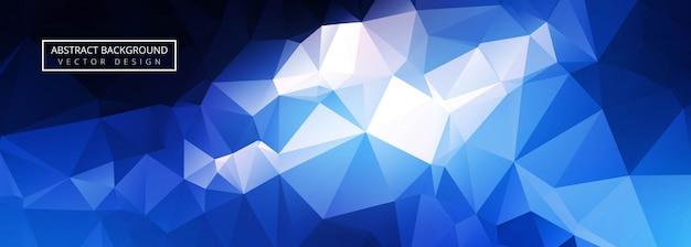 Bandeira de polígono azul brilhante abstrato Vetor grátis