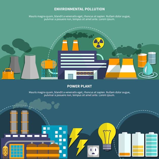 Bandeira de poluição e usina de energia ambiental Vetor grátis