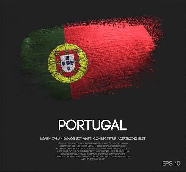Bandeira de portugal feita de glitter sparkle brush paint Vetor Premium