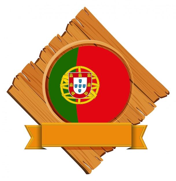Bandeira de portugal na placa de madeira Vetor grátis