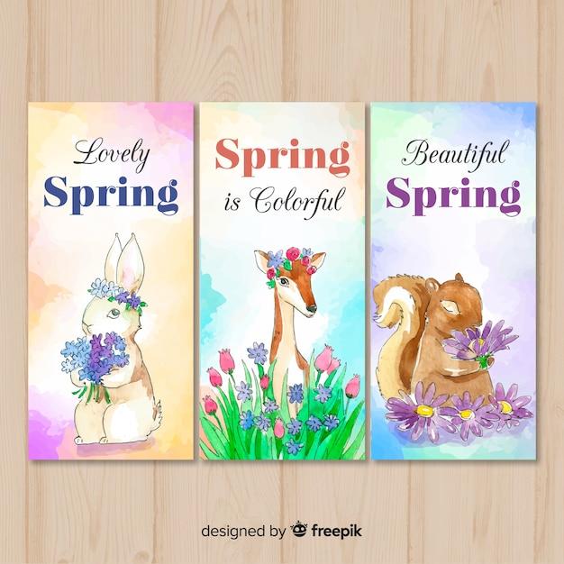 Bandeira de primavera animal aquarela Vetor grátis