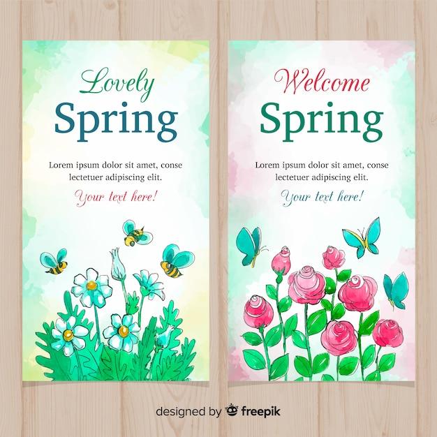 Bandeira de primavera de flores em aquarela Vetor grátis